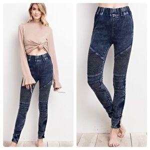 Pants - Washed Denim moto jeggings